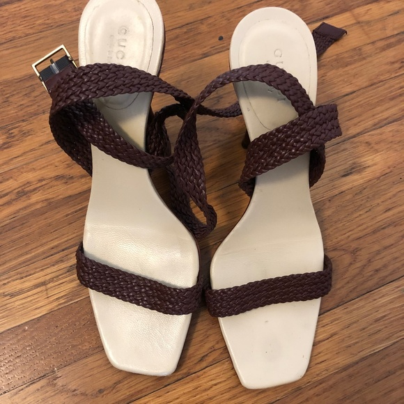 Gucci Shoes - Gucci Braided Woven Leather Ankle Strap Sandals